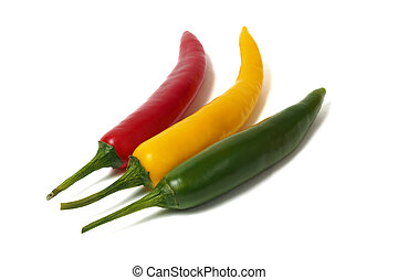 Red green and yellow pepper