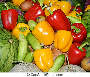 Red, green and yellow sweet bell peppers