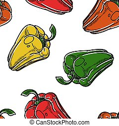 Red green and yellow sweet pepper vegetables seamless...