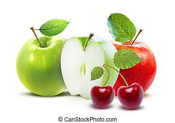 Red Green apples and cherry isolated with clipping path