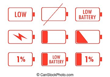Red Green Battery Indicator Icons
