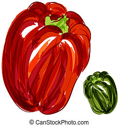 An image of a red and green bell peppers.
