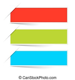 Red Green Blue Empty Paper Vector Labels Set Isolated on...
