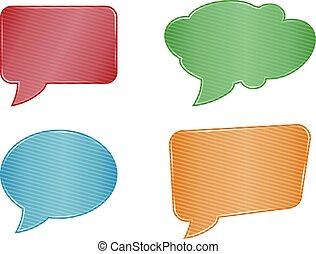 red green blue orange and stripes speech bubble set web icons on white background