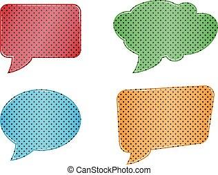 red green blue orange speech bubble set web icons on white background