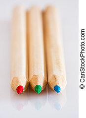 Red Green Blue wood pencils