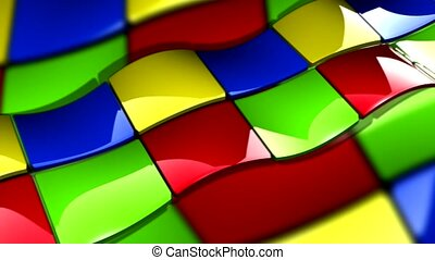 Red, green, blue, yellow squares