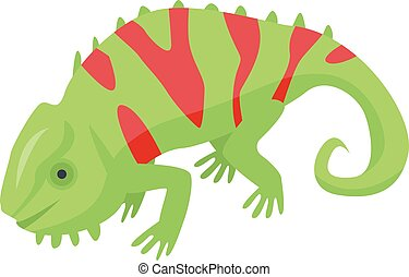 Red green chameleon icon, isometric style