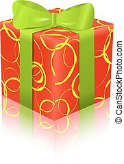 red green gift box icon
