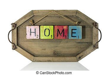 red green home text on wooden background