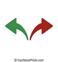 Red, Green Left and Right Arrows. Opposite Directions, Divergence, Forward, Backward. vector illustration isolated on white background.