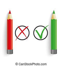 Red Green Pens Wrong Right Circles