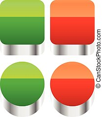 Red, green push buttons or power buttons.
