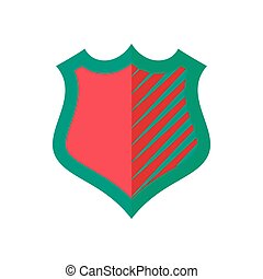 Red-green shield icon, flat style