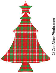 Red Green White Plaid Christmas Tree with Clipping Path on White