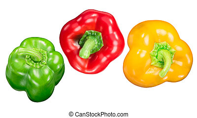 Red green yellow bell peppers, paths, top