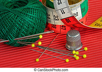Red, green, yellow -still-life from colourful sewing accessories