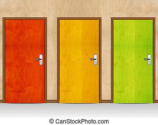 Red, Green, Yellow wooden doors.