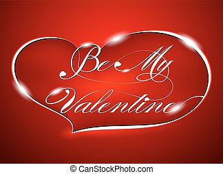 """Red Greeting Card """"Be My Valentine"""", vector"""