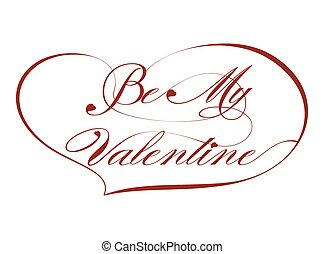Red Greeting Card-Be My Valentine, vector