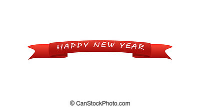 Red greeting card with the inscription New Year, white background
