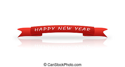 Red greeting tape with the inscription New Year, white background, reflection