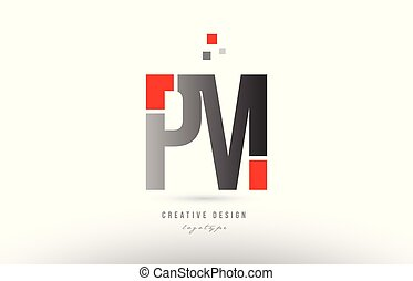 red grey alphabet letter pm p m logo combination icon design...