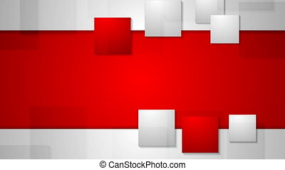 Red grey bright abstract squares tech video animation. Seamless loop design