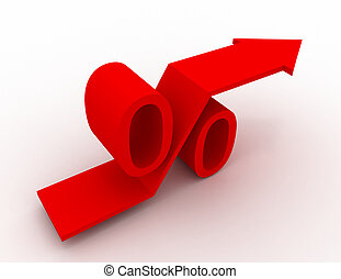 Red Growing Percent Sign With Rising Up Arrow. 3d Render Illustration