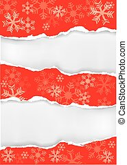 Red grung christmas torn paper back - Red grunge snowflakes...