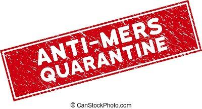 Red Grunge Anti-Mers Quarantine Rectangle Stamp