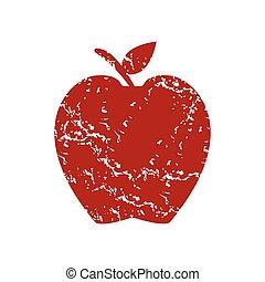 Red grunge apple logo