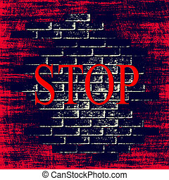 Red grunge background with word STOP inside.