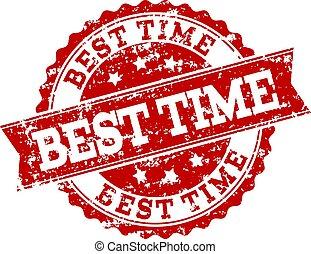 Red Grunge BEST TIME Stamp Seal Watermark