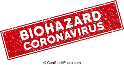 Red Grunge Biohazard Coronavirus Rectangular Stamp