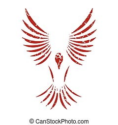 Red grunge bird logo