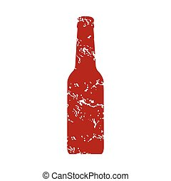 Red grunge bottle logo