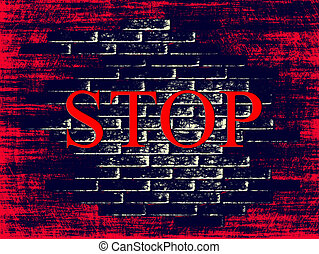 Red grunge brick shape background with word STOP inside.