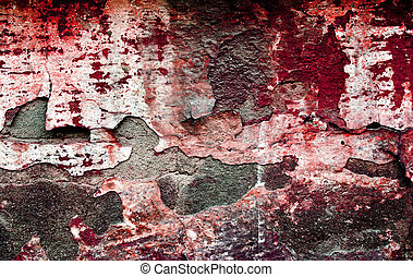 Red grunge brickwall is dangerous