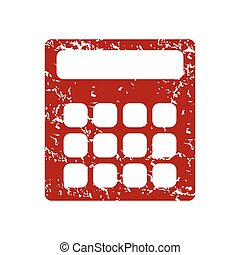 Red grunge calculator logo