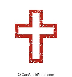 Red grunge Christianity logo on a white background. Vector...