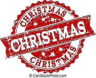 Red Grunge CHRISTMAS Stamp Seal Watermark