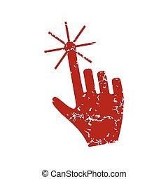 Red grunge click logo
