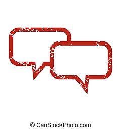 Red grunge conversation logo