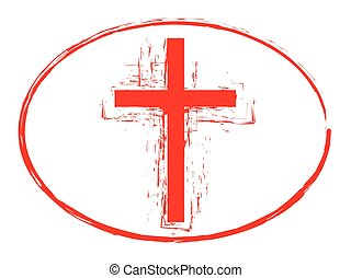 Red grunge cross stamp style symbol