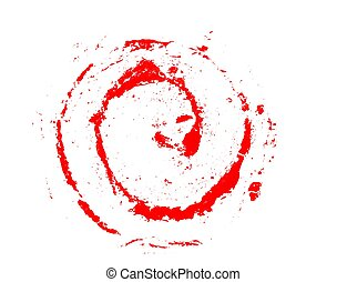 red grunge curl, on white