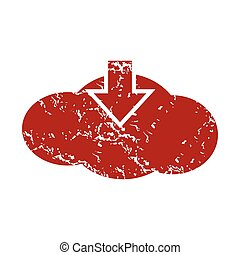 Red grunge download cloud logo