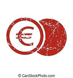 Red grunge euro coin logo