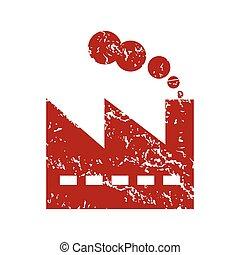 Red grunge factory logo