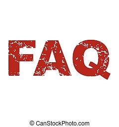 Red grunge faq logo